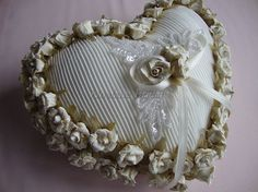 Ring Pillow Ivory paper flowers ring pillow by Hoalanebridal, #weddings #brides #prom