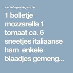 1 bolletje mozzarella 1 tomaat ca. 6 sneetjes italiaanse ham enkele blaadjes gemengde salade 1 sneetje wit brood knoflookteentje 6-tal blaadjes basilicum witte wijnazijn olijfolie zwarte peper v/d molen zout