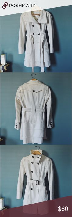 Flattering White Peacoat I love love love this peacoat, just look at the detail of this beauty and the pleats in the back?!?! This is probably my favorite jacket to own but I'll never fit into it again. This jacket is in great condition, only flaw is it's missing two front buttons ( I can look to see if I still have them or you can re button with buttons of your choosing :) ). New York & Company Jackets & Coats Pea Coats