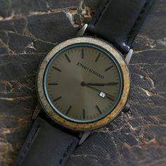 Unique Dinosaur Bone Wristwatch, Matte Black Watch And Leather Strap-JE1006-3