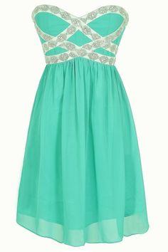 Sparkling Splendor Embellished Chiffon Designer Dress by Minuet in Teal www.lilyboutique.com