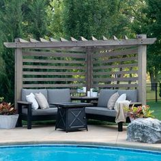 Sol 72 Outdoor™ Merlyn 11 Piece Sectional Seating Group with Cushions | Wayfair Petite Pergola, Marquise Pergola, Gazebo Pergola, Corner Pergola, Cedar Pergola, Small Pergola, Pergola With Canopy, Pallet Pergola, Aluminum Pergola