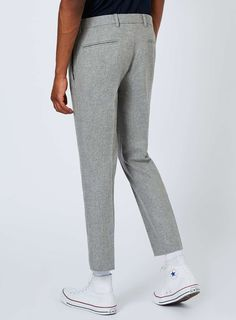 Light Grey Wool Blend Cropped Dress Pants