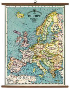 Europe Map Vintage School Chart
