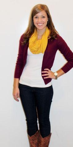 Love the plum cardigan, skinny jeans, and mustard scarf! - Studio 3:19