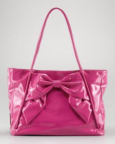 Betty Lacca Bow Tote Bag, Pop Fuchsia by Valentino at Neiman Marcus.