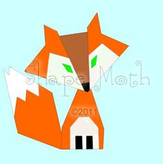 Make this cute Felix the Fox quilt block with PDF sewing pattern from Shape Moth!    This cute little fox will be a perfect addition to your quilt/pat