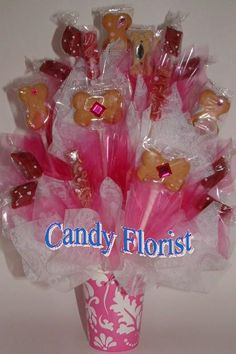 DOG Treats Candy Bouquet PAWTY Centerpiece w/No by CandyFlorist