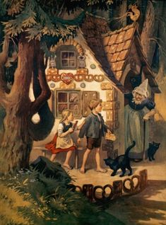 Hansel & Gretel Otto Kubel (1868-1951 German) Colored lithograph Westfalisches Schulmuseum, Dortmund, Germany : Stock Photo