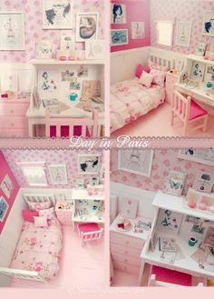 Chambre à coucher poupée OOAK Diorama Jour à Paris Diy Barbie Furniture, Dollhouse Furniture, Bedroom Furniture, Girl Bedroom Designs, Girls Bedroom, Bedroom Ideas, Mini Doll House, Shared Bedrooms, Diy Dollhouse