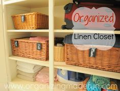 Organized Linen Closet - chalkboard labels and baskets to keep it tidy!