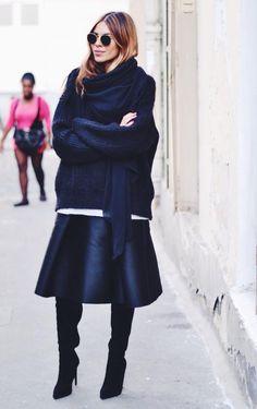 oversized navy knit + black leather midi skirt