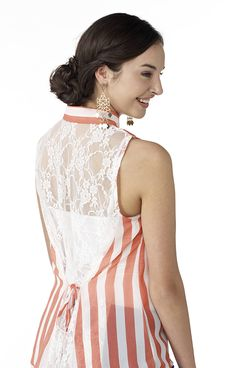 Striped blouse with lace back #MadAboutSpring