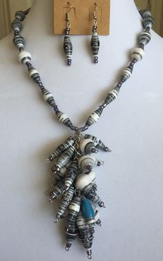 Unique paper bead necklace with earrings. by Cre8tiveBoutique