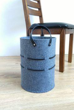 SALE Large felt hamper Round laundry basket Toy storage