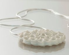 Viola  porcelain and silver necklace Designed and created by Wapa studio