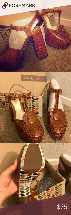 Clarks orla kiely These are amazing! I'm so mad I can't keep them. I am a size 11 but I don't care when shopping I want these to fit so bad but I wore them once for an hour and thought I was going to loose my toes. They are leather upper balance man made. Amazing orla kiely line which is very big in the U.K. These are a true 10m Orla Kiely Shoes Heels