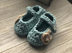 Blue and Taupe Floral Baby Booties Knit Baby Booties Mary Jane Soft Sole Shoes Boho Baby Sandals Knitted Baby Booties Baby Gift by littleloopylou Crochet Baby Booties, Knitted Baby, Do It Yourself Baby, Handmade Shop, Handmade Dolls, Handmade Baby, Cute Baby Shoes, Fabric Dolls, Rag Dolls
