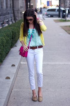 Mint Tank, Teal necklace, Yellow Cardigan, Pink purse, Light colored pants, and neutral shoes.