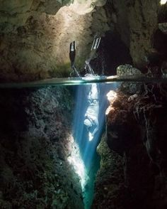 Cave freediving in Cyprus #underwaterphotography #freediving... Freediving is awesome. Diving is beautiful.