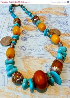 TRIBAL  Necklace  TURQUOISE  Nuggets  by TheJoyMoosCollection, $425.00