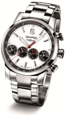 Chrono 4 Grande Taille 31052.6    Mechanical automatic winding chronograph, steel, domed sapphire glass anti-reflective, screw-in crown with rubber insert, push-buttons with lateral rubber insert, caseback fixed by 8 screws, steel CHÊNE bracelet