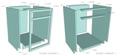Learn how to build base cabinets so you can build your own kitchen cabinets, vanity, or custom built ins. Living Room Cupboards, Diy Kitchen Cupboards, Building Kitchen Cabinets, Kitchen Cabinet Remodel, Built In Cabinets, Base Cabinets, Kitchen Layout, Diy Cabinets, Bathroom Cabinets