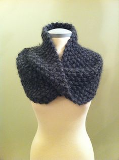 You can also knit it with a single strand for a lighter cowl.