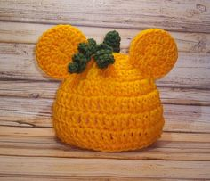 Pumpkin Orange Halloween  MICKEY MOUSE CROCHET Beanie Hat Boy or Girl, SiZES AVAiLABLE Preemie Newborn Infant Toddler Child PHoTO PRoP. $11.50, via Etsy.