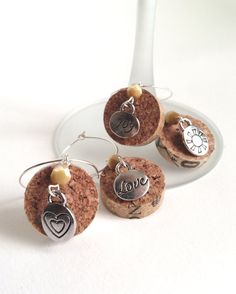 Design your own photo charms compatible with your pandora bracelets. Wine Craft, Wine Cork Crafts, Bottle Crafts, Wine Cork Jewelry, Wine Cork Art, Wine Bottle Charms, Bottle Art, Wine Glass Markers, Wine Cork Projects
