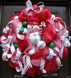 Christmas Wreath Snowman, Mesh Christmas Wreath, Christmas Deco Mesh Wreath XXL