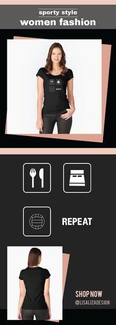 Women's Fitted Scoop T-Shirt Trendy Eat Sleep Volleyball Repeat Sport Women Fashion / Gift ideas for all ladies with unique and comfortable fashion.  (Also available in mugs, cups, shirts, duvet covers, acrylic block, purse, wallet,  iphone cases, baby on