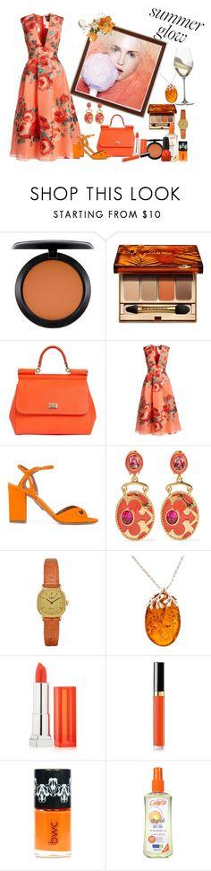 """Summer Glow"" by glitterlady4 ❤ liked on Polyvore featuring MAC Cosmetics, Clarins, Dolce&Gabbana, Lela Rose, Aquazzura, Oscar de la Renta, Longines, Be-Jewelled, Maybelline and Chanel"