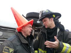 David Eigenberg (Christopher Herrmann and Jesse Spencer (Matthew Casey)