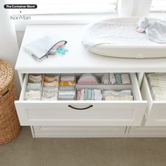 Shop our The Container Store x KonMari drawer organizers and spark joy in your nursery, office, or bedroom! Nursery Office, Nursery Organization, Konmari, Container Store, Organizers, Drawers, Joy, Bedroom, Furniture