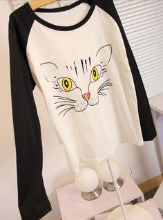 Vintage Scoop Neck Color Block Cartoon Print Cotton T-Shirt For Women (BLACK,ONE SIZE) | Vintage T-shirts