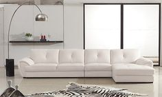 Kula 3-Pieced White Leather Sectional Sofa