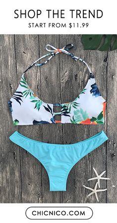 $22.99 Sexy Floral Print Bathing Suit Bikini Set