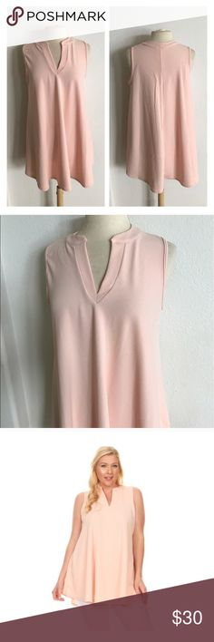 """(Plus) Blush notch collar V neck sleeveless blouse.  96% polyester/ 4% spandex. Super flowy and stretchy! Textured shell- smooth inside. Very true to size- I'm a 2x/16 and the 2x fits perfectly! 2x: L 32"""" B 42""""  3x: L 33"""" B 44""""  ⭐️This item is brand new without tags 💲Price is firm unless bundled ✅Bundle offers Availability: 2x•3x • 2•2 Tops"""