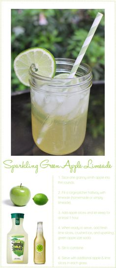 Sparkling Green Apple Limeade ~ HA! Add vodka (lime or apple, don't matter) and It's a yummy cocktail!! :)