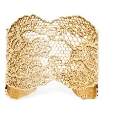 Aurelie Bidermann Vintage Lace Gold Plated Bracelet (€630) ❤ liked on Polyvore featuring jewelry, bracelets, 18k bangle, gold plated jewellery, 18 karat gold jewelry, aurélie bidermann and vintage style jewelry