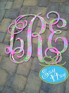 "24"" Interlocking Wooden Monogram Cutout Hand Painted inspired by Lilly Pulitzer to match Monkey Trouble bedding"