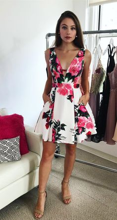 floral homecoming dresses, short homecoming dresses, 2018 homecoming dresses with pockets, party dresses dancing dresses