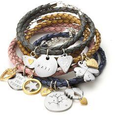 Ladies Braided Leather Wrap Charm Bracelet By Chambers & Beau Leather Charm Bracelets, Leather Jewelry, Cord Bracelets, Jewelry Crafts, Handmade Jewelry, Craft Jewellery, Personalized Charms, Diy Jewelry Making, Braided Leather