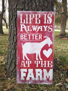 """Hand Painted Rustic Goat / Goat Themed Life Is Better On The Farm / Wood Sign / 24"""" X 12"""" by SodaPopAdventures2 on Etsy https://www.etsy.com/listing/254738315/hand-painted-rustic-goat-goat-themed"""