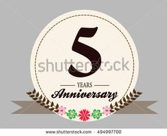 5 years anniversary logo with oval shape, flower and ribbon. anniversary logo for birthday, wedding, celebration and party