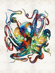 #octopus #beachyart Colorful Octopus Art By Sharon Cummings by Sharon Cummings