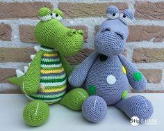Ravelry: Krokodil Karel pattern by Stip & Haak Cute Crochet, Crochet For Kids, Crochet Toys, Crochet Baby, Knit Crochet, Amigurumi Patterns, Crochet Patterns, Crochet Dragon Pattern, Crochet Animals