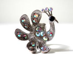 Vintage Peacock Cocktail Ring set with Aurora by bigbangzero, $44.00