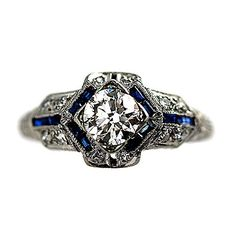 4deeafacd8ec Circa 1920 s Exceptional Diamond and Sapphire Ring